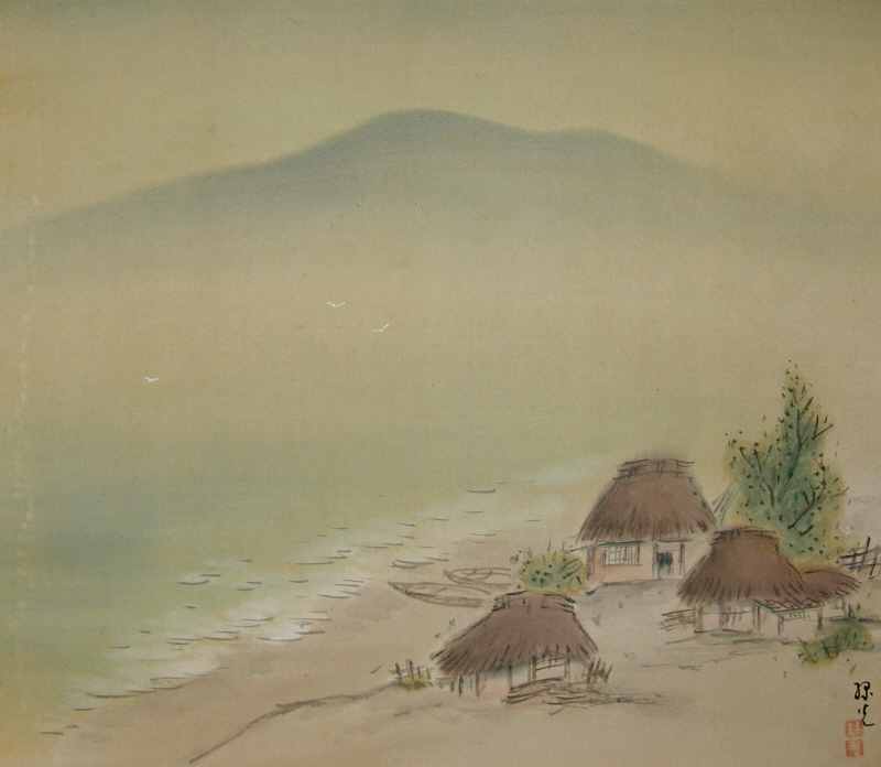 Ss 10154 Fishing Village Japanese Antique Wall Scroll