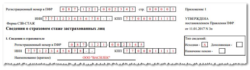 СЗВ-стаж: образец заполнения отчетности