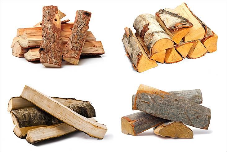 さまざまな種類の木からの薪