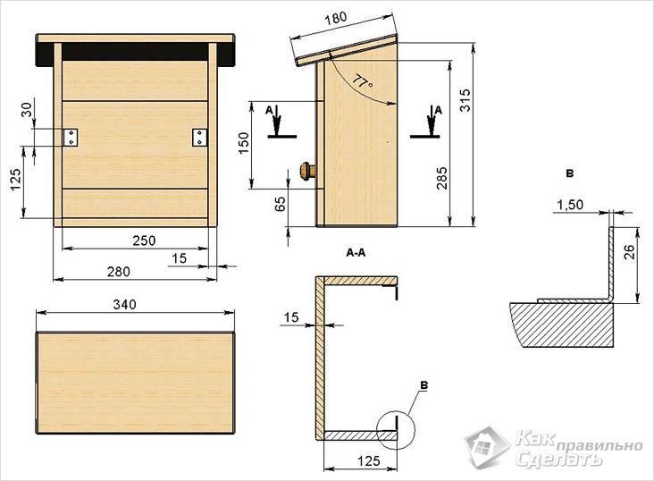 Diagram kotak surat kayu