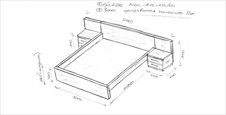 Σκίτσο από ξύλινο κρεβάτι με κομοδίνα