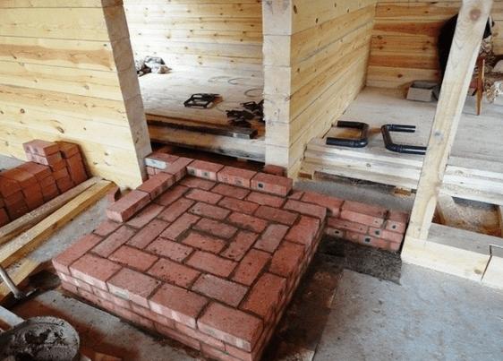 Tijolo resistente ao fogo colocado com base na fonte