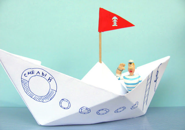 How to make a boat from paper? Instruction folding paper boat do it yourself stage 3
