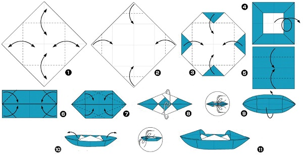 How to make a boat from paper? Instructions for folding paper boat do it yourself Stage 44