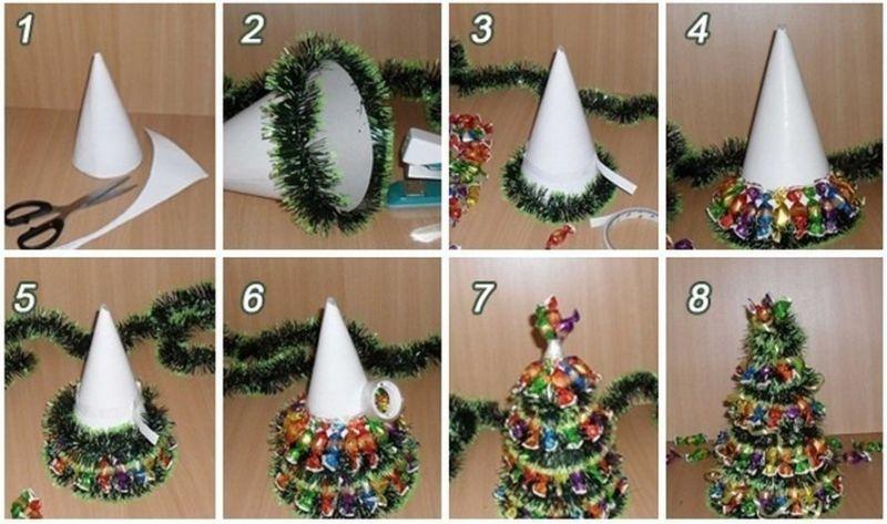 DIY juletræ til nytår & # 8212; fotoideer og mesterklasser trin 6