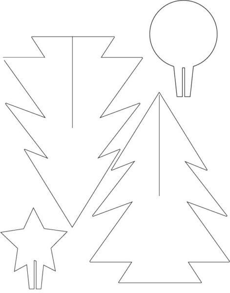 Tělor strom z papíru & # 8212; Schémata a šablony k vytvoření vánočního stromu s vlastní fází rukou 4