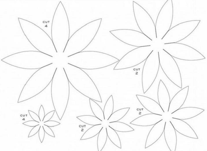 Paper Flowers & # 8212; Mga scheme at mga template para sa paglikha ng mga kulay ng papel na yugto 140.