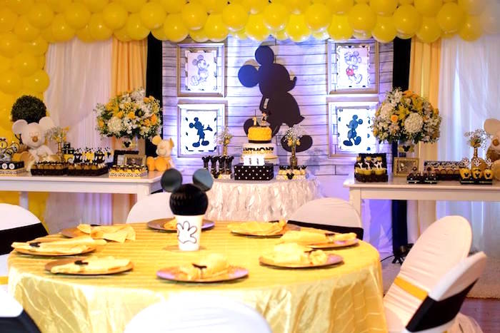 Kara S Party Ideas Yellow Amp Gold Mickey Mouse Birthday