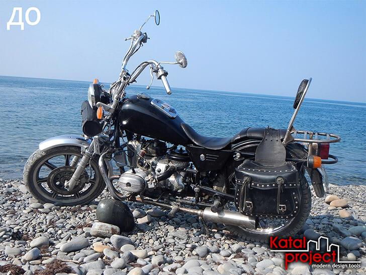 Sumber: foto sepeda motor di pantai dengan cakrawala yang berserakan