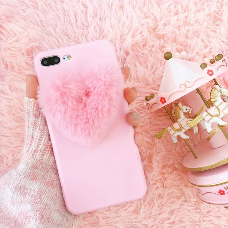 Fuzzy Heart Iphone Case Iphone 7 Plus Kawaii Case