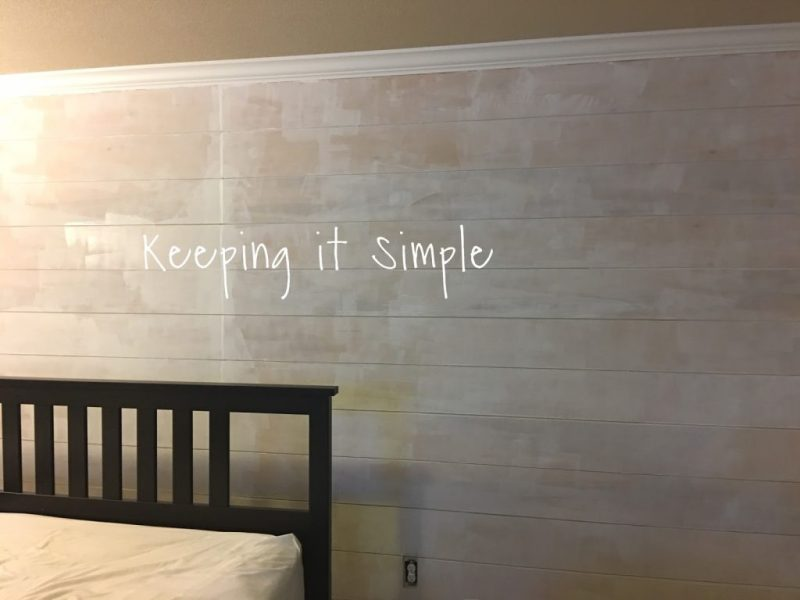 How to Build a Shiplap Wall In a Master Bedroom For  100     Keeping     It took about two coats of white paint to cover the hole thing  And since I  had already done the edges and the back wall before  I only had to paint  the