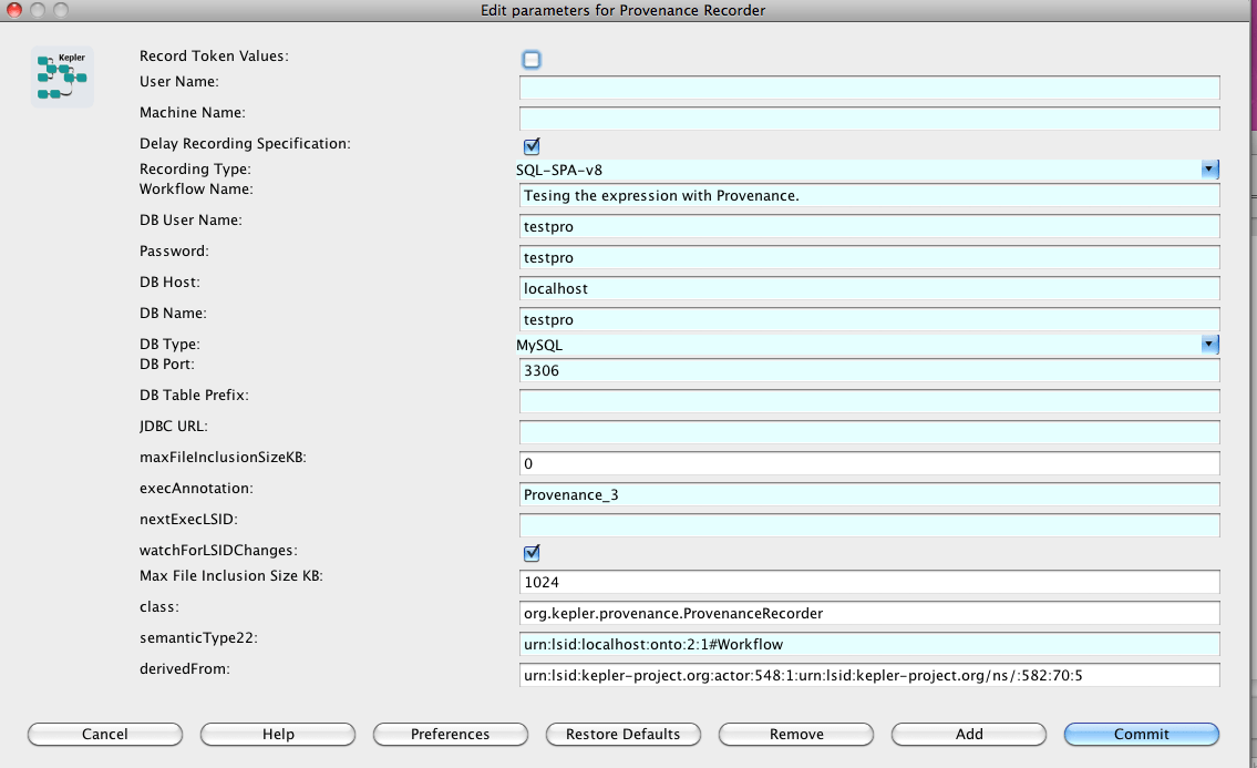 connect to database to save provenance data — Kepler
