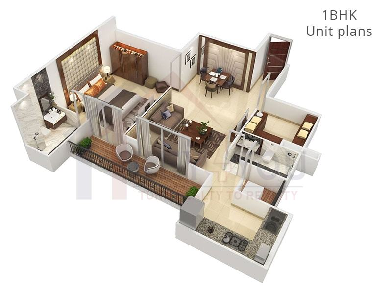1BHK Unit Floor Plan of Affordable Housing Gurgaon Sector 36