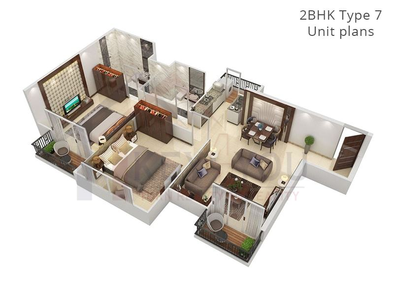 2 BHK Type 7 Unit Floor Plan of Affordable Housing Gurgaon Sector 36