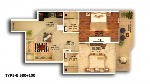 Pyramid Affordable Housing Sector 67A Gurgaon 2BHK-Type-B