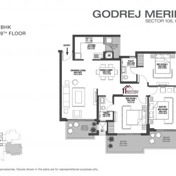Godrej Meridien Floor Plans-3 BHK Type A