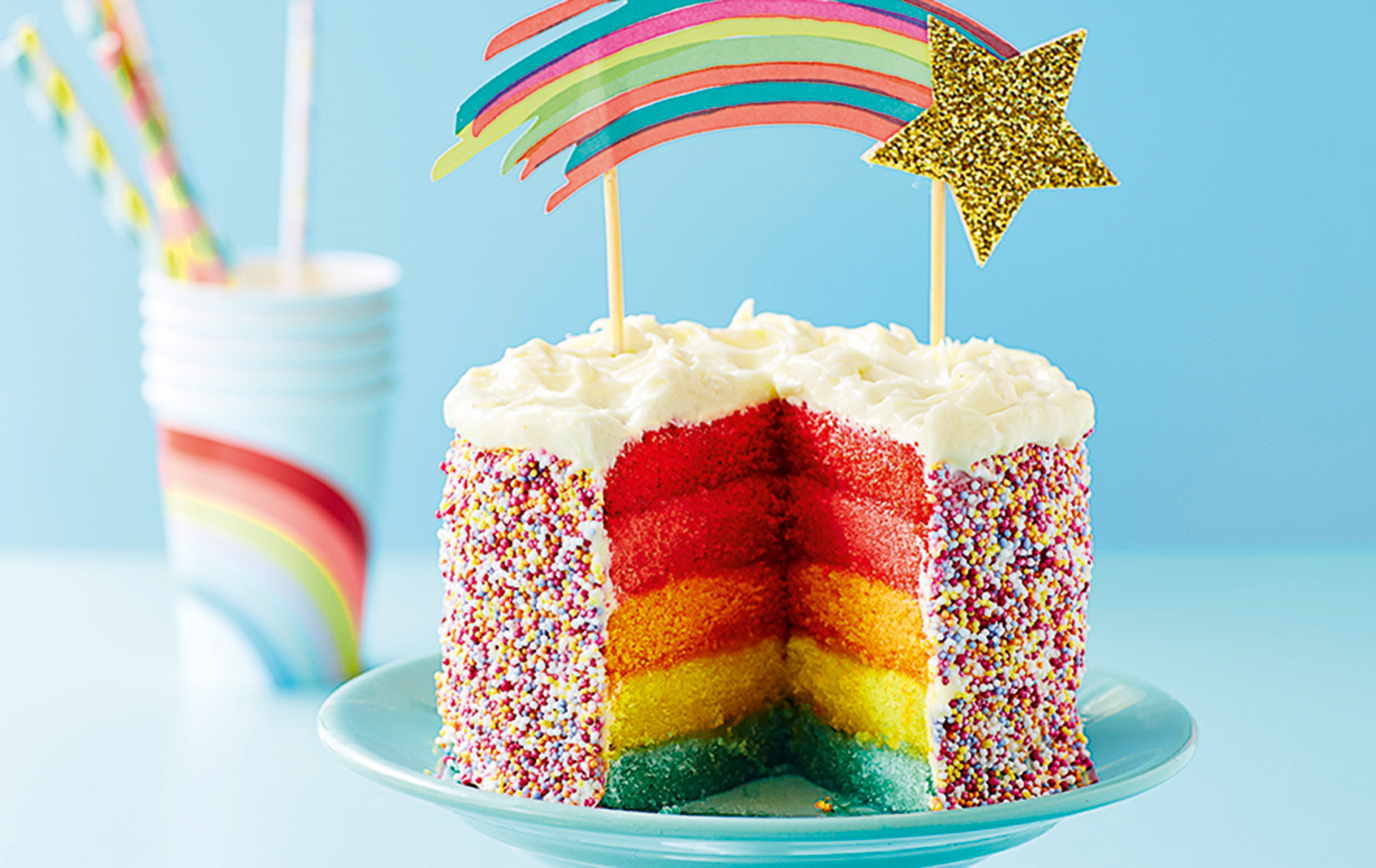 Rainbow Layer Cake American Recipes Goodtoknow