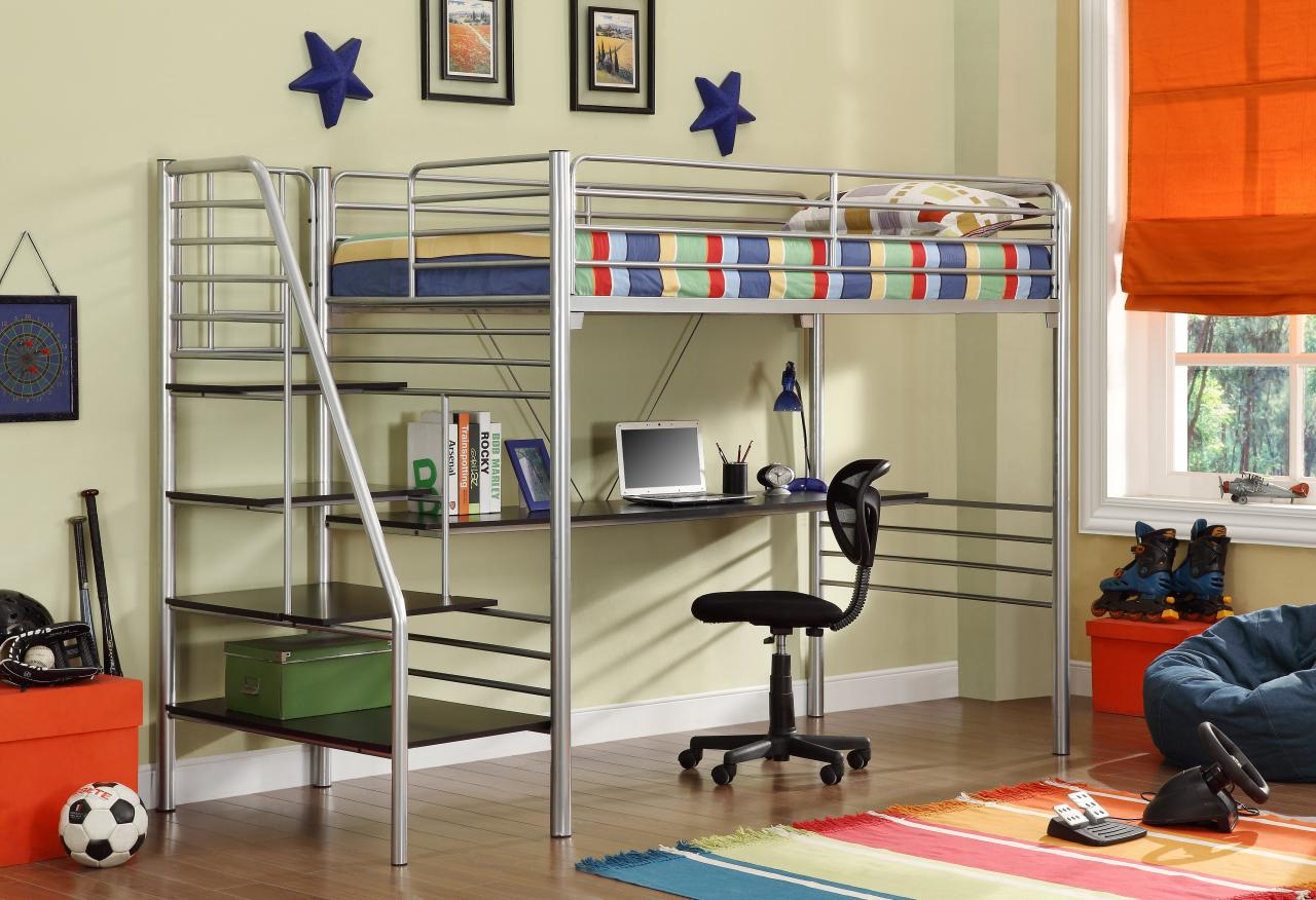 Loft Desk Silver Bed
