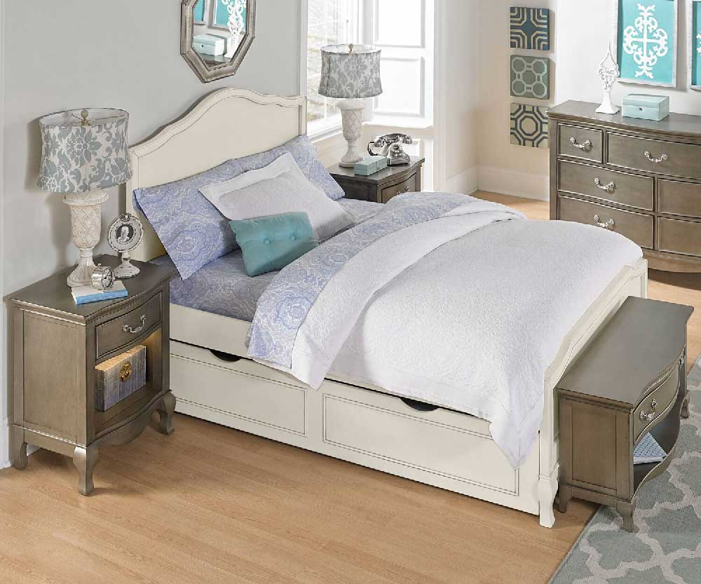Alexandria Panel Bed In Antique White Kids Furniture In