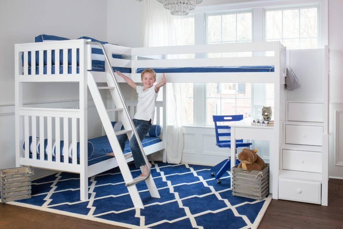 Maxtrix Corner Bunk Bed With Stair Loft Addition Kids