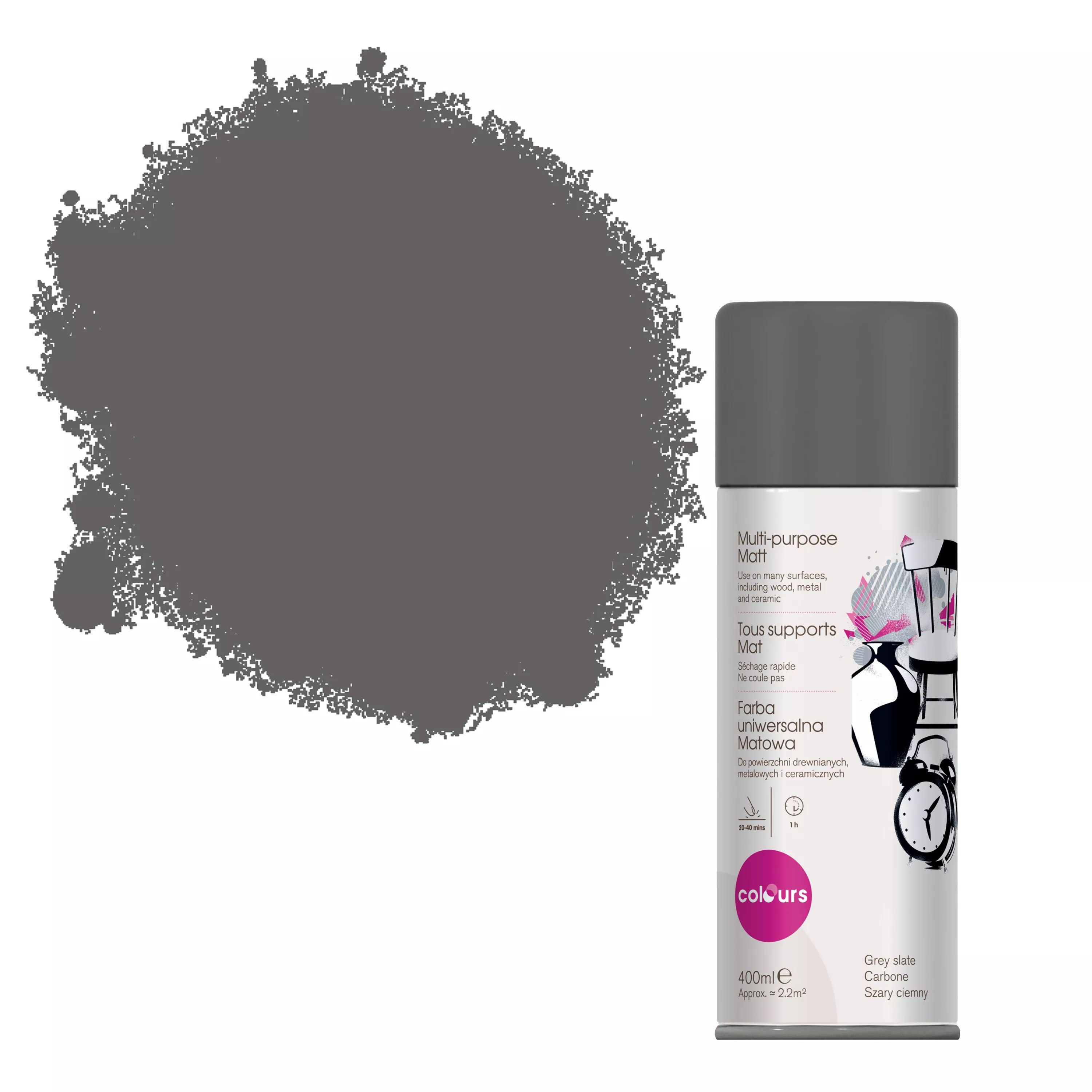 Colours Grey Slate Matt Spray Paint 400 Ml Departments