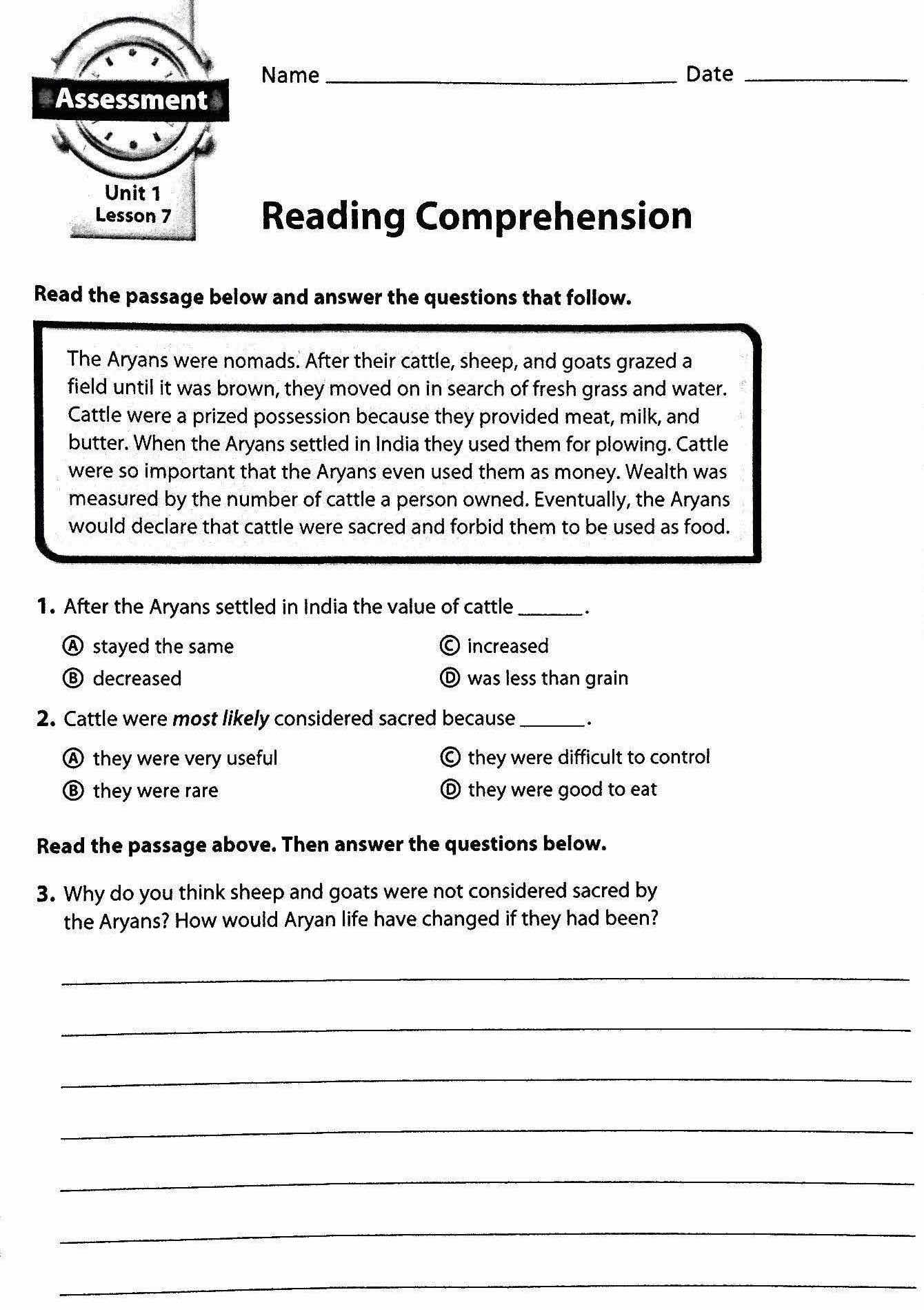 Worksheets 6th Grade Worksheets Reading reading comprehension worksheets for 6th grade free ch pter 4 ncient di mr proehl