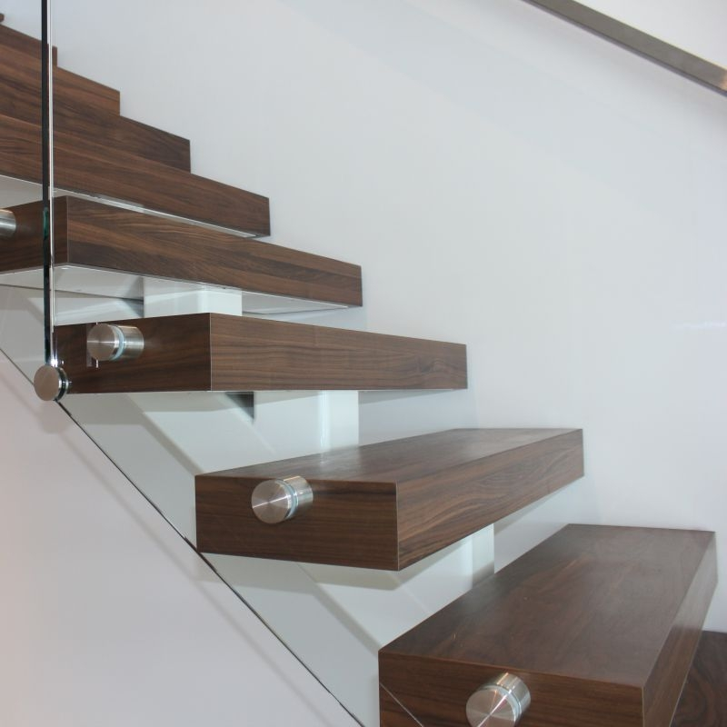 Thick Wood Tread | Thick Wood Stair Treads | Solid Weathered | Baby Blue White Stair | Custom | Prefinished | Glue Laminated