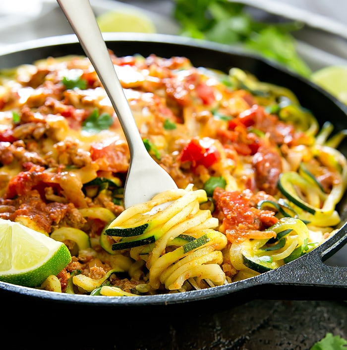 One Pot Taco Zucchini Noodles Kirbie S Cravings