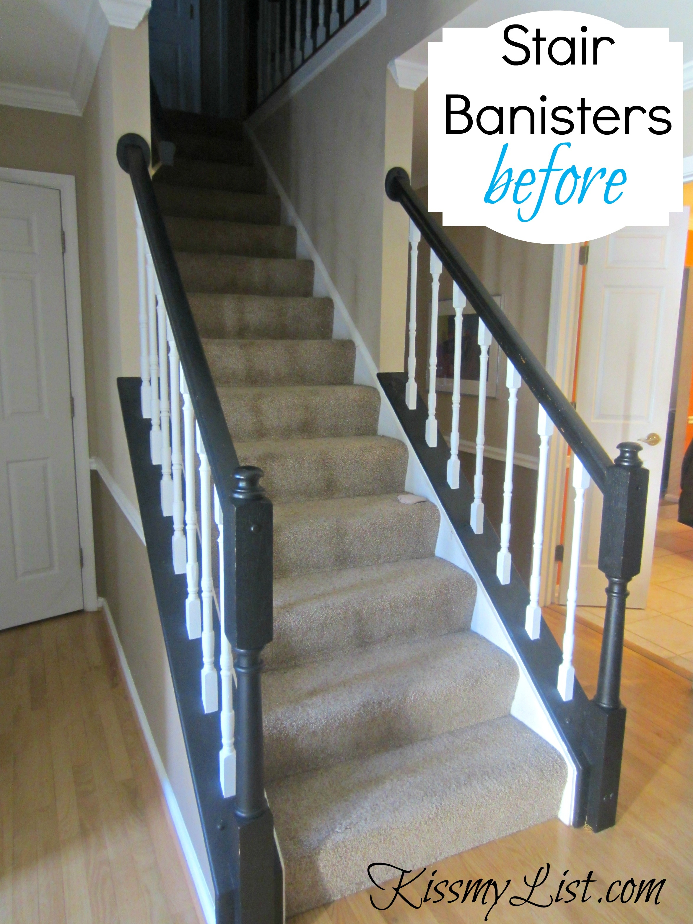 My Humongous Diy Stairs Fail Kiss My List | Black Banister With White Spindles | Brazilian Cherry Stair | Victorian | Traditional Home | Iron Spindle White Catwalk Brown Railing | Gray