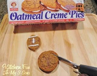 Cut the Oatmeal Pie Into a Football Shape
