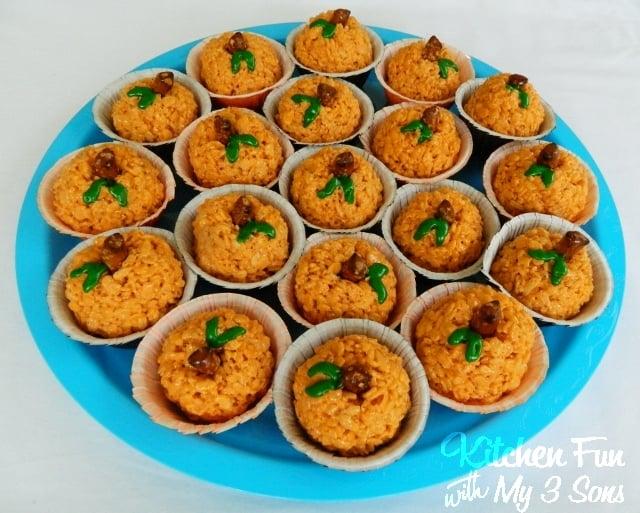 Pumpkin Rice Krispie Treats...filled with a hidden mini candy bar!