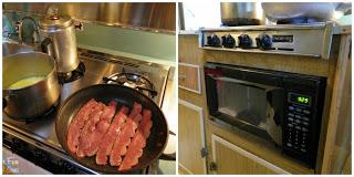 making breakfast in our little kitchen