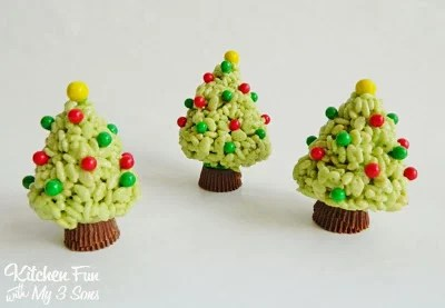 Christmas Key Lime Rice Krispie Treats Trees