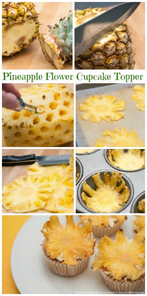 Pineapple Flower Topped Cupcakes