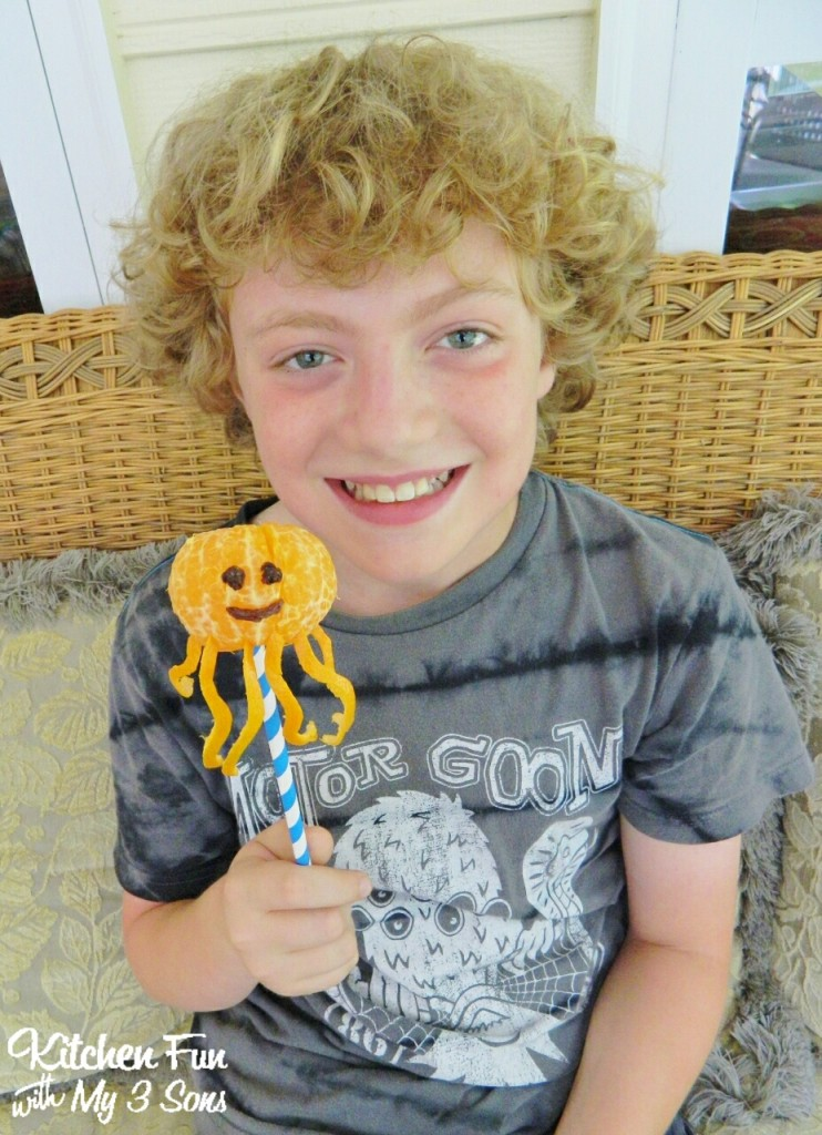 Isn't this SO easy & fun! Here is my oldest with his Octopus Fruit Snack