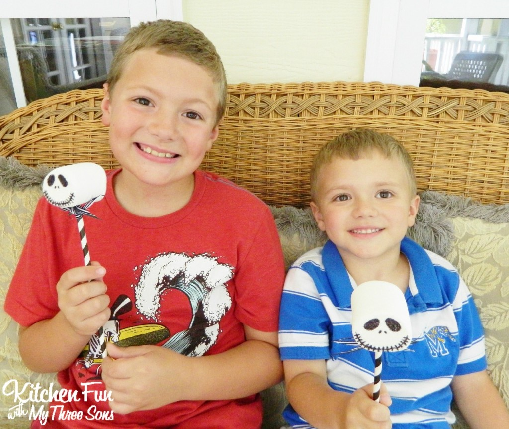 Here is my 8 & 4 year old with their Jack Skellington Pops