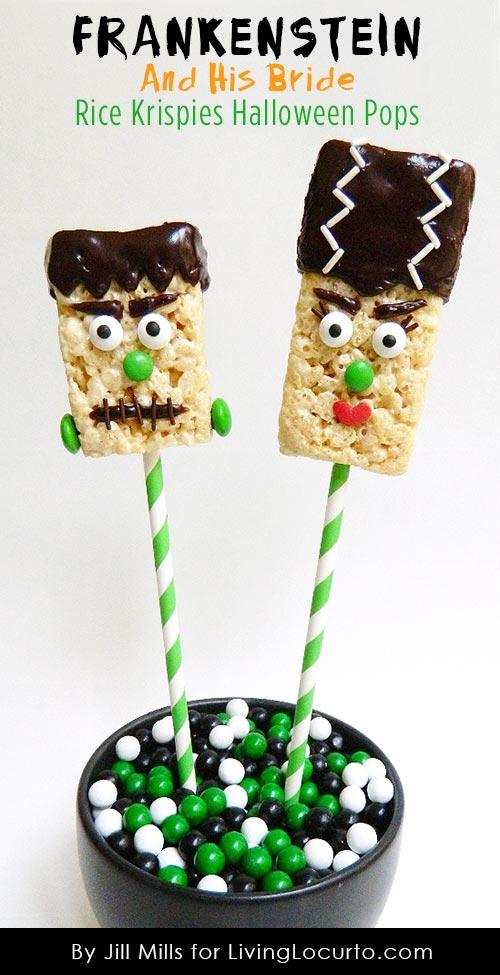 Frankenstein and His Bride Rice Krispies Treat Halloween Pops