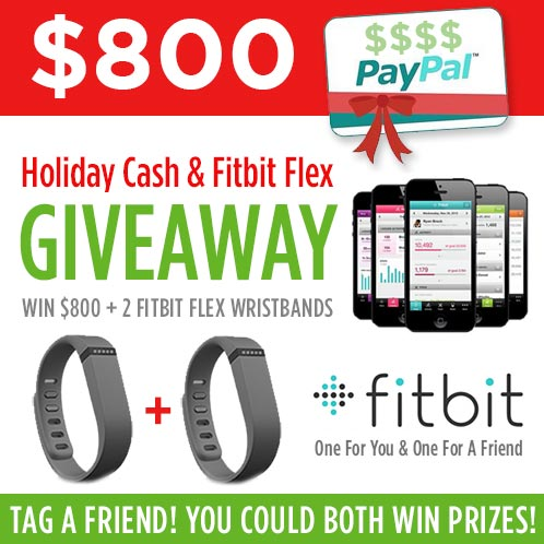 $800 CASH and 2 Fitbit Wristbands Giveaway