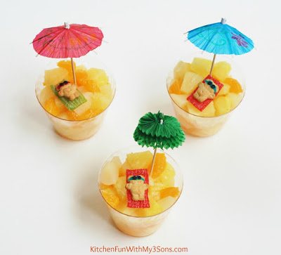 We also placed our teddies on tropical fruit cups that we made and think they turned out so cute!