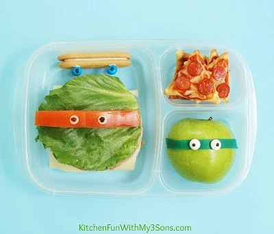 TMNT Teenage Mutant Ninja Turtle Bento Lunch from KitchenFunWithMy3Sons.com