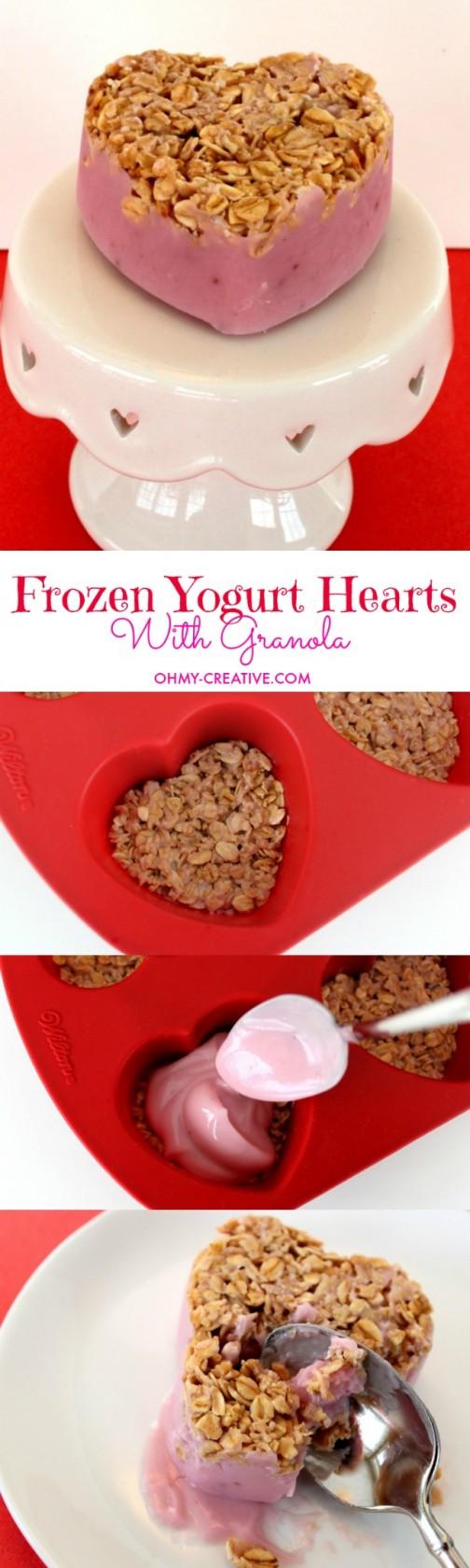 Frozen Yogurt Hearts for Valentine's Day