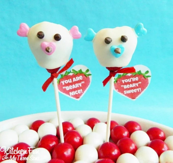 Valentine Chocolate Covered Strawberry Bears from KitchenFunWithMy3Sons.com