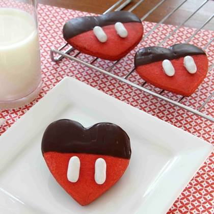 Valentine Heart Shaped Mickey Mouse Cookies