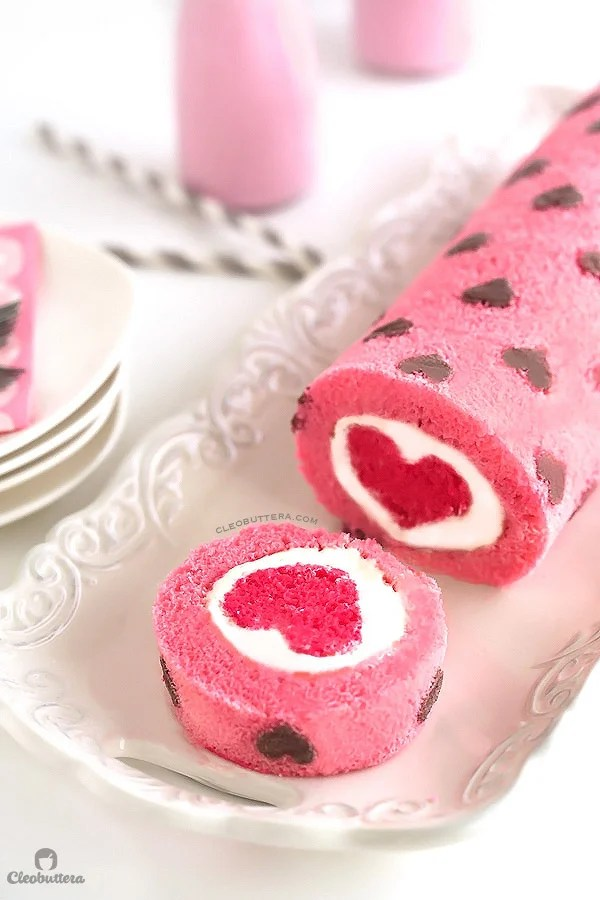 Valentine's Day Heart Cake Roll