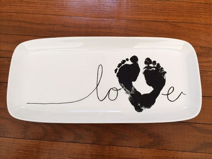 Valentine's Day Footprint Love Plate