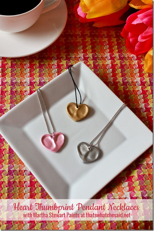 DIY Heart Thumbprint Necklace for Valentine's Day