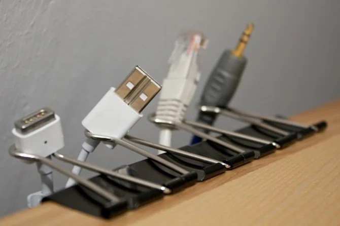 Keep Cables cleaned up with Binder Clips!