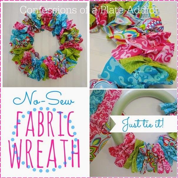 Easy No-Sew Spring Fabric Wreath