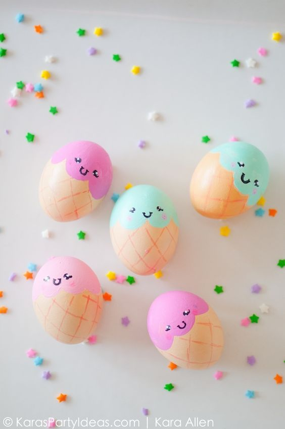 Ice Cream Cone Easter Eggs