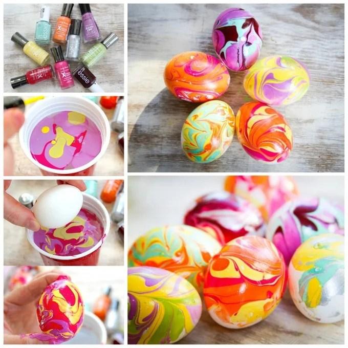 Nail Polish Marbled Easter Eggs